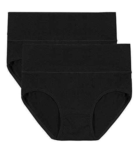 Envlon Women's 5 Pack High Waist Cotton Underwear Tummy Control Briefs Panties for Women (X-Large, Black, 2 Pack)