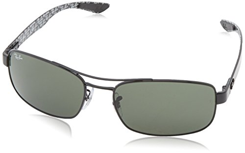 Ray-Ban Mens Carbon Fibre Sunglasses (RB8316 62) Gunmetal Matte/Green Metal - Polarized - - Ban Ray Glasses Carbon Fiber