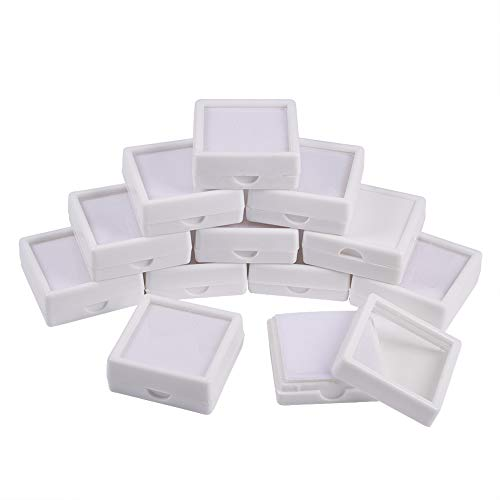 BENECREAT 24PCS White Gemstone Display Box Jewelry Box Container with Clear Top Lids, 1.57