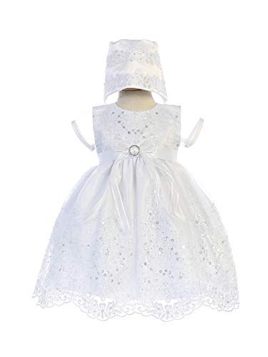 Swea Pea & Lilli Baby Girls White Embroidered Sparkle Sage Baptism Dress 12-18M