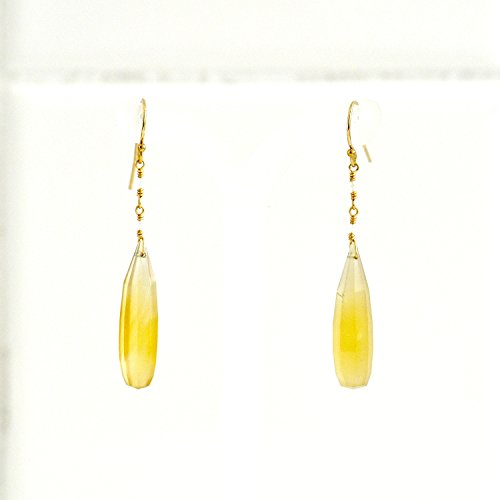 Moonstone Yellow Earrings - Yellow Chalcedony Earrings, Moonstone Earrings, Yellow stone earrings, Yellow and White, Yellow stone gold earrings, Gift For her