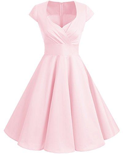 Pink Swing Dress - Bbonlinedress Women Short 1950s Retro Vintage Cocktail Party Swing Dresses Pink 2XL