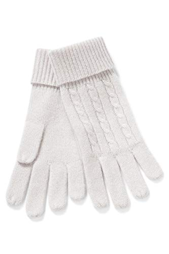 Fishers Finery Women's 100% Pure Cashmere Gloves, Ultra Plush Cable Knit Stone ()