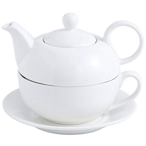 Malacasa Tea for One Set Teapot 11 Ounce and Cup 8.4 Ounce Porcelain Teacup and Saucer Set with Lid and 6 inch Saucer, White - Series Sweet Time - Ceramic One