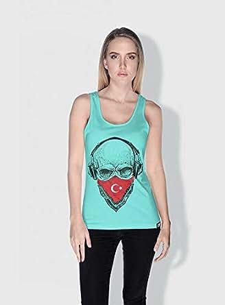 Creo Turkey Skull Tanks Tops For Women - Xl, Green