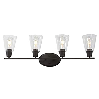 BONLICHT Rustic Vanity Light 4 Light Oil-Rubbed Bronze Interior Wall Sconce Fixtures with Clear Glass Shade, Vintage Industrial Bathroom Lighting for Dining Room Kitchen Workshop
