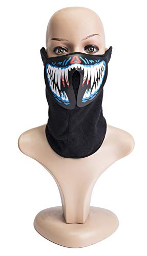 Light Mask Halloween Mask Music Mask with Sound Active for Halloween Party Cosplay Dancing,Party ()