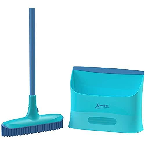 Spontex Catch and Clean Reinigingsset voor vloerbedekking, ultracompact, rubberen noppen + schep, met rubberen…