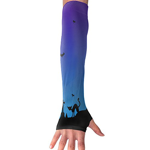 Halloween Moon Night Cat Bat UV Sun Protection Stretchy Cooling Forearm Arm Sleeves Warmers Cuffs Arm Skin Protectors Outdoor Sports by DeckerMO