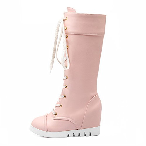 Boots Heels Pink Lace Mid Round Women's Solid High Closed up Top AgooLar Toe PZ7HnwxvW