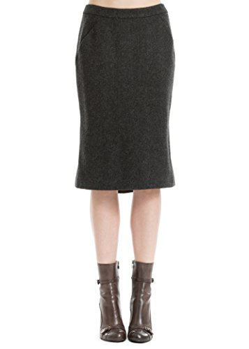 MAXSTUDIO Heathered Wool Twill Flared Skirt (Wool Twill Skirt)