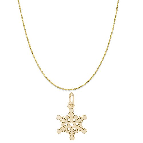 (Rembrandt Charms 10K Yellow Gold Snowflake Accent Charm on a Twist Curb Chain Necklace, 20