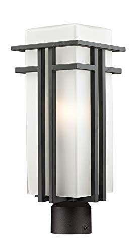 Abbey Post Lantern - Z-Lite 550PHB-ORBZ-R Outdoor Post Light with Aluminum Frame Oil Rubbed Bronze Finish, Matte Opal