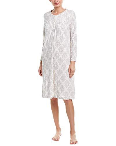 Carole Hochman Women's Luxe Cozy Fleece Waltz Gown Ivory Damask Large