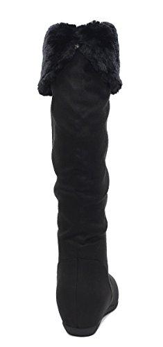 Max Collectie Dames Middenkuit Platte Laarzen Alle Maten Te Koop Zwarte Caroline