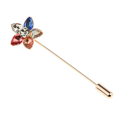 - Rhinestone Flower Badge Brooch Lapel Pin Men Women Shirt Suit Accessory Gift (Color - Multicolor Flower)