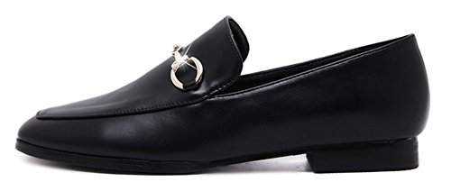 Souliers Femme Aisun Mocassins Mode Basses Carré Bloc Noir Bout Talon Oxfords gqIpqrw4
