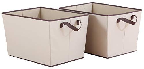 STORAGE MANIAC XL Storage Baskets Rectangular Open Storage Bins Polyester Canvas Foldable Container with 2 -
