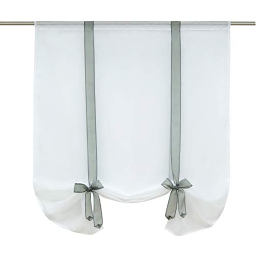 (ISINO 1 Piece Rod Pocket Ribbon Tie Up Curtain Sheer Voile Balloon Shades W 23