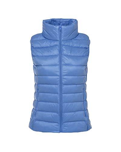 Women's Down Gilet Coat Vest Ultra Light Weight Packable Puffer Jacket Light Blue