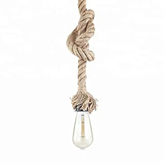 STARRYOL Cuerda de cáñamo E27 Lámpara colgante colgante vintage, Luz de techo estilo retro industrial del país perfecta para el restaurante del comedor Bar ...
