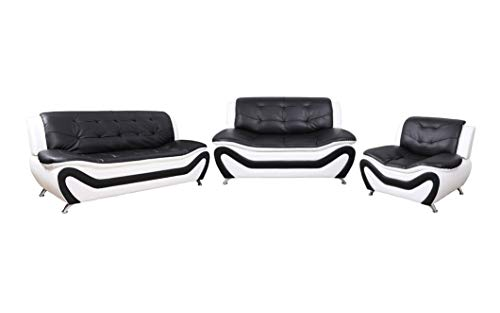 (Home Garden Collections 3 Piece Faux Leather Contemporary Living Room Sofa, Love Seat, Chair Set, Black/White Product SKU: HF3001LS3)