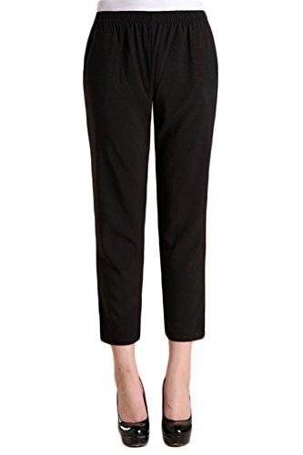 (Soojun Women's Casual Lightweight Pull On Cropped Pants, Black, Medium)