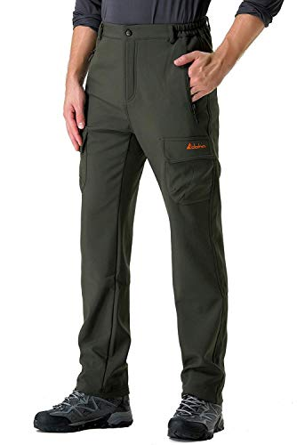 Clothin Men's Fleece-Lined Ski Cargo Pants - Warm, Breathable, Water Wind-Resistant