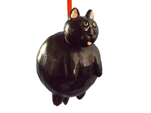 Fat Cat Black with Pink Ears Pet Animal Christmas Tree Ornament ()