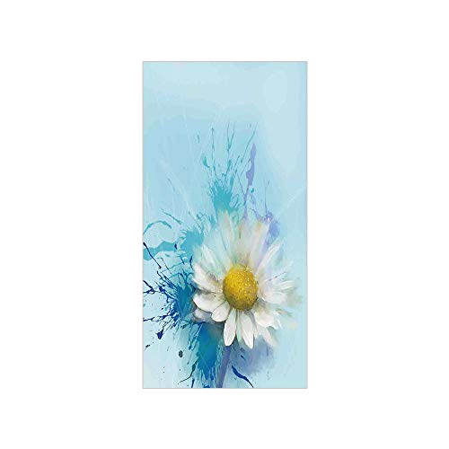 3D Decorative Film Privacy Window Film No Glue,Watercolor Flower Home Decor,Oil Painting Chamomile Pattern with Splash on Background Image,White Blue,for Home&Office