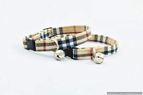 Stunning FURBERRY PLAID CAT COLLAR with Breakaway Buckle and Nickel Bell in Designer Fashion Nova Check ()
