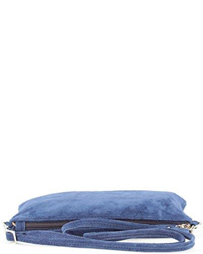 histoireDaccessoires - Clutch de Cuero de Mujer - PO129721V-OE-Helios Azul denim