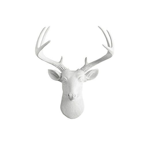 Curtains Costumes Plot (Mini Deer White Faux Head Mount Bust Fake Animal Resin Taxide Wall Decoration)