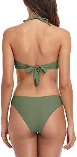 Charmo Halter Bikini Swimsuits for Women Push Up Swimwear High Cut Thong Two Piece Bathing Suits