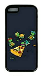 meilinF000Tmnt Teenage Mutant Ninja Turtles Eating Pizza Case for iPhone 5C TPU Material Black-Fits iPhone 5C T-Mobile,AT&T,Sprint,Verizon and InternationalmeilinF000