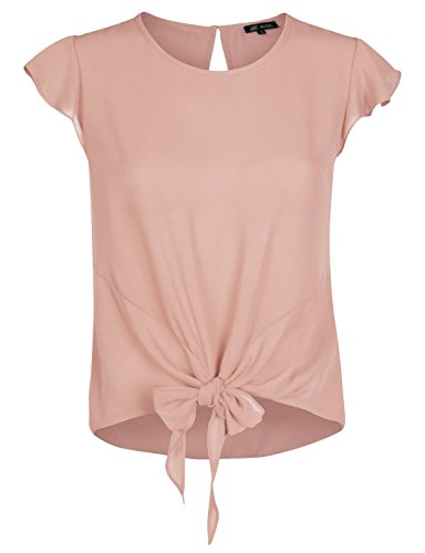 e4b516b5cb6 Michel Womens Round Neck Tulip Short Sleeve Blouse Tie Front Tops Blouses  Rose Small