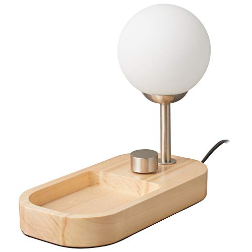 Rivet Modern Globe Table Desk Lamp and Tray with Light Bulb and USB Port – 8 x 6.75 x 11.62 Inches, Satin Brass with Wood