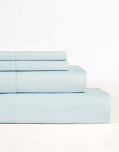 Lavish Lux Bedding 600 Thread Count 100 % Cotton Sateen Weave Silky Soft 4 PC Full Sheet Set - 2 Pillowcases, 1 Flat Sheet and 1 Fitted Sheet, Queen, Sky Blue