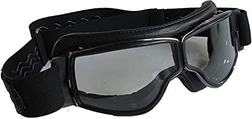 Aviator Motorradbrille T2 gunmetal, Leder schwarz, Gläser klar
