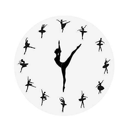 (1PC 3D Ballet Girl Mirror Wall Clock Home Decor Dancer Wall Clock Creative Acrylic Ballerina Clock Mirror Sticker)