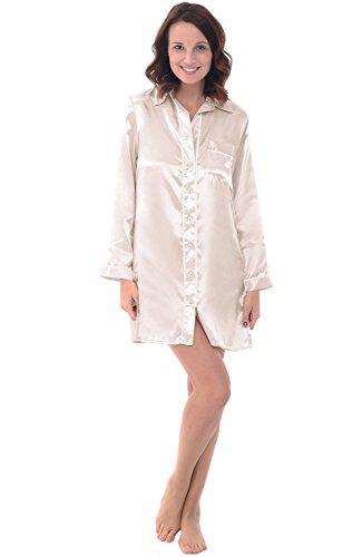 Silk Front Shirt Button - Alexander Del Rossa Womens Satin Nightgown, Long Boyfriend Style Button Front Sleep Shirt, Medium Biscotti (A0787BISMD)