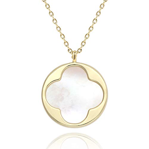 COZLANE 14K Gold 4 Leaf Clover Disc Necklace Single Mother of Pearl Round Coin Pendant Necklace for Women Girls
