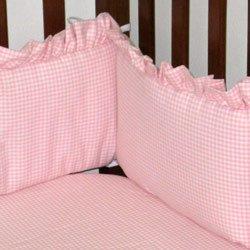 Pink Gingham Cradle Bumper