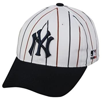 edbf20a53329f ... usa mlb cooperstown youth new york yankees wht pin stripe hat cap  adjustable velcro twill throwback