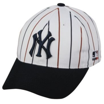 MLB Cooperstown ADULT New York YANKEES Wht Pin Stripe Hat Cap Adjustable Velcro TWILL Throwback