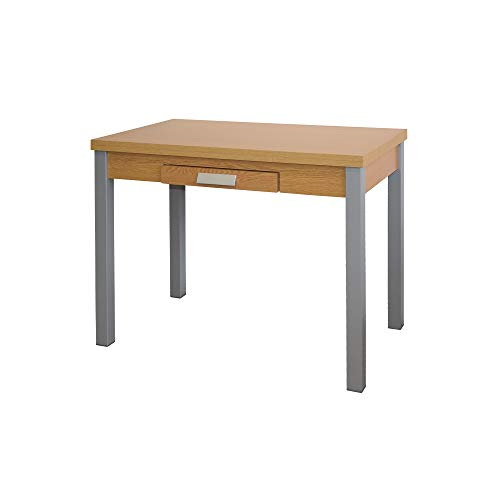 Mesa de Cocina Extensible - Modelo SILANTA - Color Roble/Plata - Material MDF/Metal - Medidas 100/160 x 60 x 76 cm
