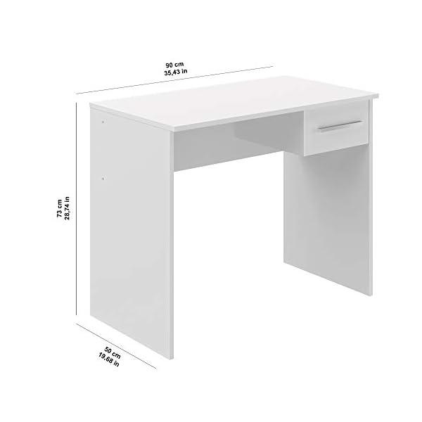 Movian Inari Modern Bureau avec un Tiroir, Blanc, 50 X 90 X 73 cm