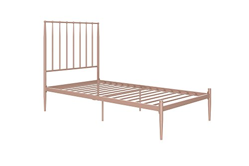 DHP Giulia Modern Metal Bed, Lavish and Chic 48.5-Inch Headboard, Under-bed Clearance for Storage, Twin, Millenial Pink by DHP