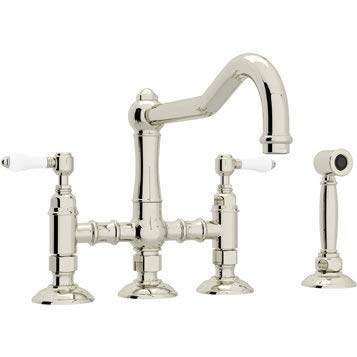 Rohl A1458LPWS-2 Country Kitchen Three Leg Bridge Faucet with Porcelain Levers H, Polished ()