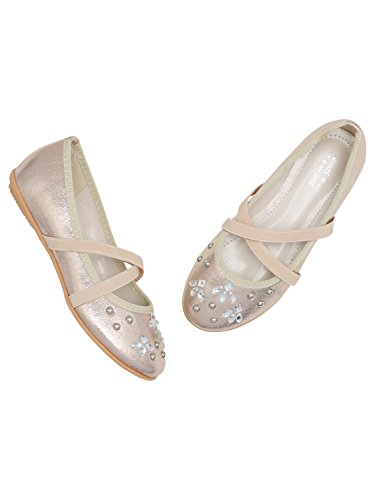 Crossover Stud Strap Diamante Shoes Metallic Gold Embellished M Stretch amp;Co Girls fqZ4F